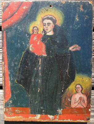 Antique retablo hand painted icon on wood New Mexico St Anthony and Christ child