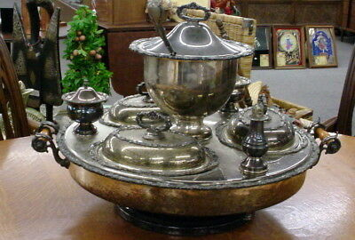 Massive Antique Silver Plate Lazy Susan Bain Marie Revolving Server And Tureen