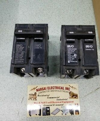 (1)Cutler hammer  BR2100  100 AMP 2 POLE 240 VOLT CIRCUIT BREAKER((chipped)