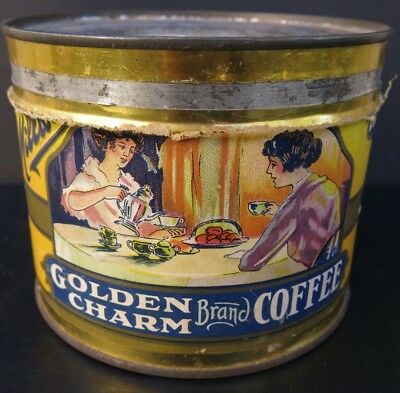 VINTAGE RARE GOLDEN CHARM KEY WIND COFFEE TIN -paper label by E.B. MILLAR DENVER