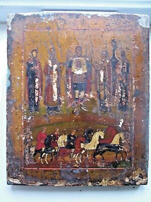 """""""Antique 19c Russian Orthodox Hand Painted Wood Icon """"Miracle of Archangel Mich"""""""