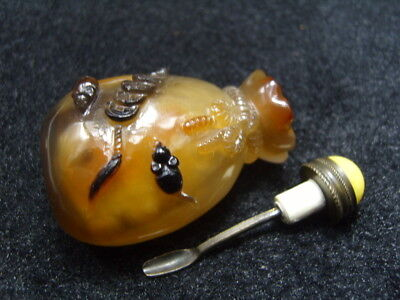Chinese Exquisite hand-carved jade agate snuff bottle       17