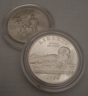 *A Pair Of U.S.A 1996 Olympic Commemorative Half Dollar Coins: Swimming & Soccer
