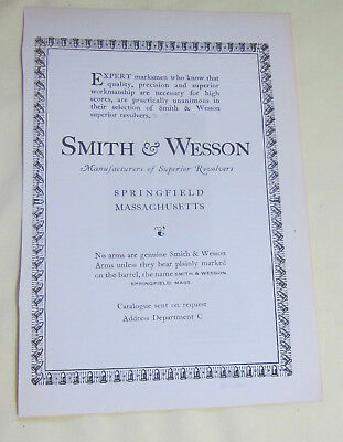 """SMITH & WESSON """"Manufacturers of Superior Revolvers"""", Early 1900's Magazine Ad"""