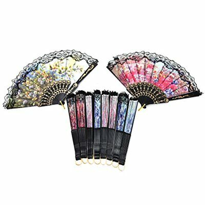 10pcs Spanish Floral Folding Hand Fan Sequin Fabric Handheld, Random Color,party