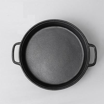 35CM Flat bottom cast iron frying pan old fashioned manual no coating pan
