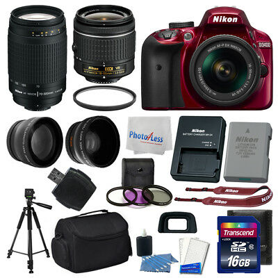 Nikon D3400 Digital SLR Camera (Red) + AF-P DX NIKKOR 18-55mm f/3.5-5.6G VR Lens