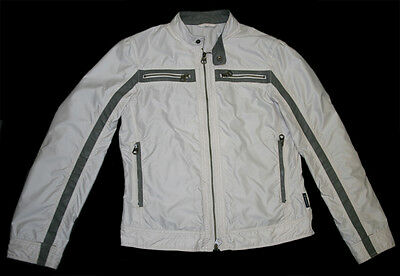 ARMANI JEANS Casual Zip Up Sports Jacket Light Salmon with Grey Leather Trim S