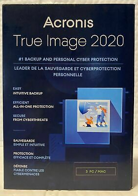 Acronis True Image 2020 3-Users/PC  Backup & Recovery Software [CD-ROM] Windows