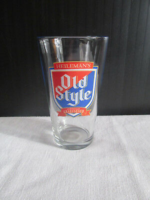"""HEILEMAN'S Old Style  Beer Glass - """"THINK LOCAL DRINK LOCAL"""""""