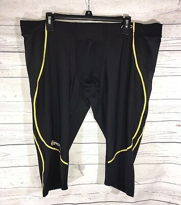 Skins A400 Men's Compression Tights Pants Sz 4XL Running 3/4 Black Yellow