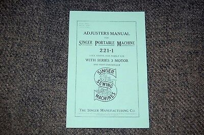 Singer Featherweight Adjusters Manual to Service & Time 221 221K Sewing Machines