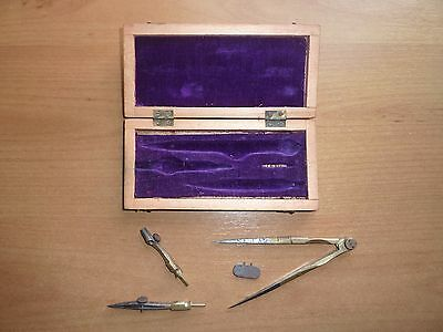 Late 19th/early 20th century draughtsman's set brass in wooden case (SEE PHOTOS)