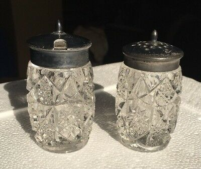 Antique Crystal Salt And Pepper Shakers 3500 Picclick