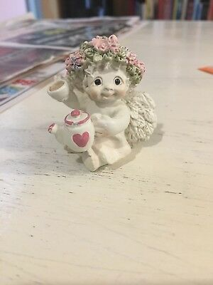 "Dreamsicles  Figurine ~ ""high Tea"" ~ 1.75"" Cherub Angel Holding Teapot & Teacup"