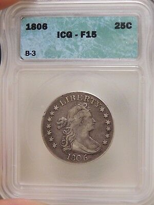 1806 Bust Quarter Graded F15 by ICG