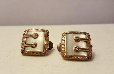 Antique Mother of Pearl Cufflinks Mens Cuffs Gold Tone 1884 Patent 19th C