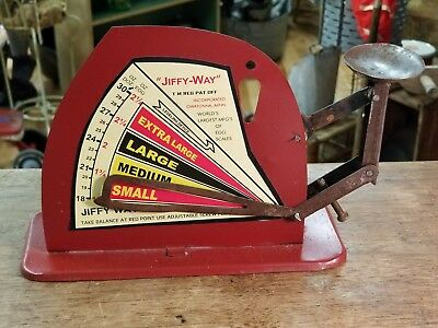 """JIFFY WAY"" Rustic Vintage Style Tin Poultry Egg Scale New"