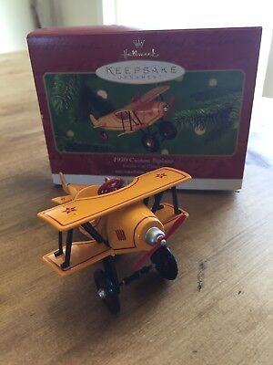 2001 HALLMARK Ornament 1930 CUSTOM BIPLANE 8th Kiddie Car Classics Series NIB