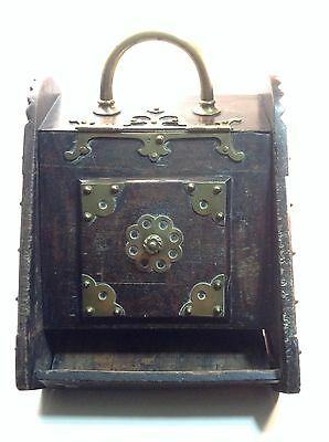 Vintage Antique English Wood Brass Coal Ash Container Bread Box Breadbox Storage