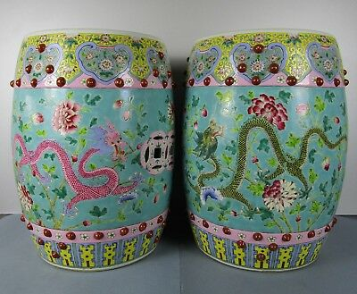 Perfect Chinese End 19Th Century Vibrant Color Dragons Famille Rose Seat Garden