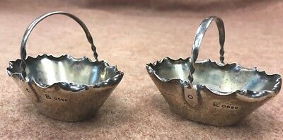 2 antique Small sterling silver candy dishes baskets Just beautiful twisted hand