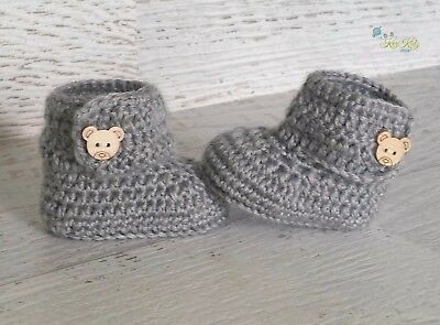 Grey Crochet Knitted Baby Booties Shoes Socks / Pregnancy Announcement