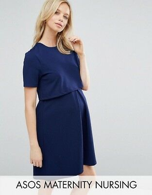 ASOS Maternity NURSING Textured Skater blue Dress With Double Layer -Size 8