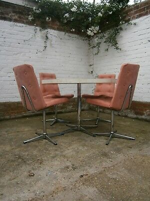 Vintage Retro Mid Century Chrome Table And Chrome Swivel Chairs Steelux 60/70s