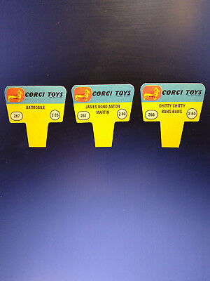 Corgi Toys 1960s Shop Display Point of Sale Signs, 3 Card Set ! 261, 267, 266