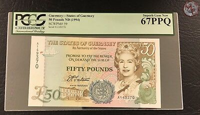 Guernsey- 50 Pounds ND 1994 P-59- PCGS 67 PPQ-- HIGH QUALITY !!!