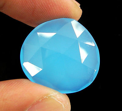 18.40 Ct Natural Blue Chalcedony Loose Faceted Gemstone Beautiful Stone - 10742