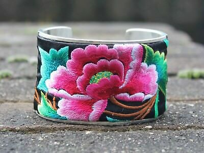 Ethnic silver embroidery flower bangle Boho gypsy Hippie Bracelet Gift for her