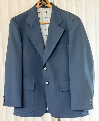 Vintage Leisure Suit Jacket Mens Blazer Polyester Blue 44 R