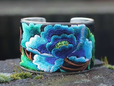 Ethnic Miao silver embroidered Bohemian Gypsy Flower Bangle Unique Gift for her