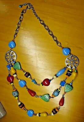 Vintage Art Glass Wired Bead BIB necklace Southwestern COLORFUL OOAK