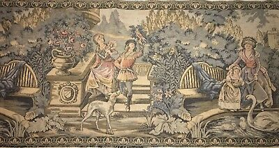 "Large Antique Vintage French Tapestry  60"" x 18"" Beautiful Scene Park Dogs Swans"