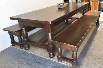 Vintage French X Large Dining Table + Two Bench Seats Chestnut Rare - QN119