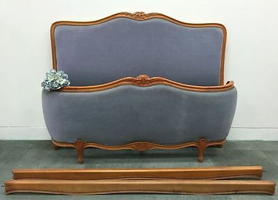 French Double Bed Louis XV Corbeille Cherrywood Blue Velvet - k096a