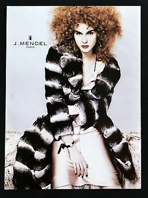 2004 Vintage Print Ad J MENDEL Paris Woman's Fashion Image Red Hair Beauty