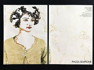 2004 Vintage Print Ad PIAZZA SEMPIONE Woman's Fashion Illustration Art Style