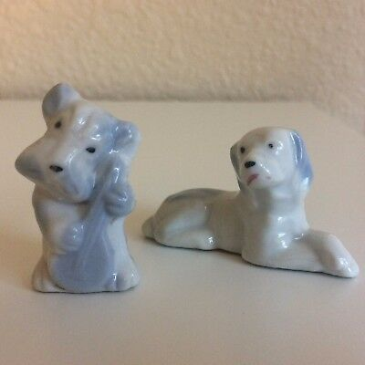 Vintage Blue White Porcelain Dog Figures Crossed Paw Playing Stringed Instrument