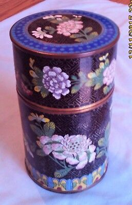 Beautiful Older Chinese? Cloisonne Bronze Enamel Humidor Or Canister Jar