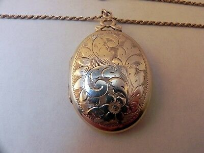 vintage sterling silver floral design locket necklace with chain