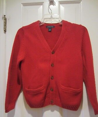 Lands End Boy's Red Cotton Cardigan Sweater With Front Pockets Youth Size 7-8