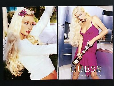 2004 Vintage Print Ad GUESS Marciano Woman's Fashion Paris Hilton Pink Wine
