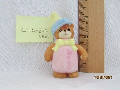 Lucy & Me Enesco Pink Baby Bottle Bear Figurine Lucy Rigg 1993