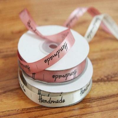 Handmade Print Satin Ribbon Baking Gift Packing DIY Sewing Labels 1cm*22m Rolls