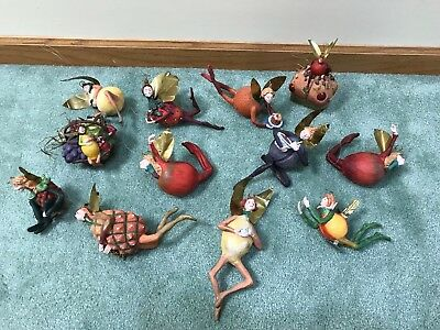 12 Dept 56 Tutti Frutti Fruit Fairy Ornaments Big Mix Some Rare Clip-Ons Plum +