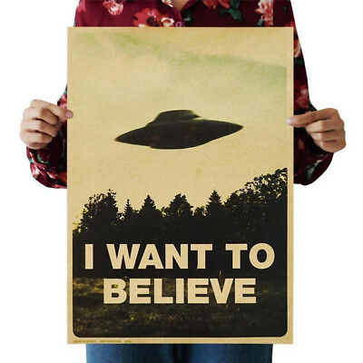 "Vintage Retro ""I WANT TO BELIEVE"" Poster Kraft Paper Poster Bar Cafe Wall Decor"